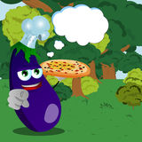 Chef eggplant with pizza pointing at viewer in the forest with speech bubble Stock Image