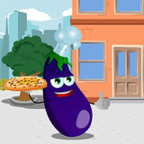 Chef eggplant with pizza showing thumb up in the city Royalty Free Stock Photos