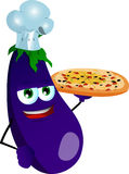 Chef eggplant showing a delicious pizza Royalty Free Stock Photo
