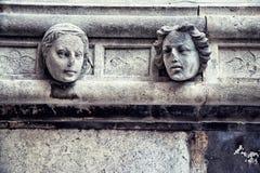 Chef en pierre, détail du St James Cathedral, Sibenik photos stock