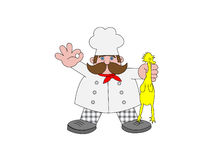 Chef et poulet illustration de vecteur