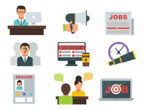 Chef för möte för arbete för anställning för rekrytering för begrepp för kontor för dator för uppsättning för symbol för vektorjo stock illustrationer