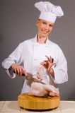 Chef Fabricates a Chicken Stock Photography