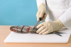 Chef faisant cuire un poisson Photographie stock