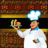 Chef and fast food Royalty Free Stock Images