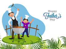 Chef, and father teaching his son on barbeque, Happy father and. Son duo on Father`s Day concept stock illustration