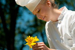 Chef Female Outdoors Stock Image