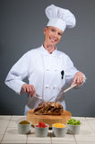 Chef Female Serving Roast Royalty Free Stock Photos