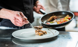 Chef finishing food on plate in restaurant kitchen. Chef finishing food on plate in restaurant or hotel kitchen Royalty Free Stock Image