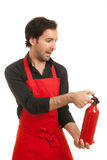 Chef fire extinguisher Stock Photo