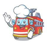 Chef fire truck character cartoon. Vector illustration Royalty Free Stock Photo