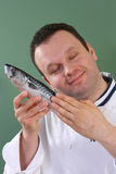 Chef and fish Royalty Free Stock Images