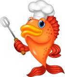 Chef fish cartoon holding spatula Stock Photo