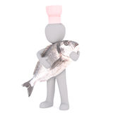Chef with fish concept. Little faceless cartoon 3D man in cook toque holding big fish in arms. Render isolated on white background Royalty Free Stock Photo
