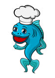 Chef fish. Smiling chef fish in cartoon style for food design Stock Images