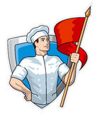 Chef with flag Royalty Free Stock Photo