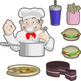 Chef and food. A chef and some food, burgers, pizza etc stock illustration