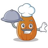 Chef with food almond nut character cartoon Royalty Free Stock Photography