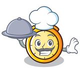 Chef with food chronometer character cartoon style Royalty Free Stock Images