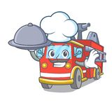 Chef with food fire truck mascot cartoon. Vector illustration Stock Photo
