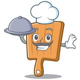 Chef with food kitchen board character cartoon. Vector illustration Stock Photos