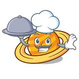 Chef with food planet saturnus mascot cartoon stock illustration
