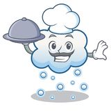 Chef with food snow cloud character cartoon Royalty Free Stock Photos