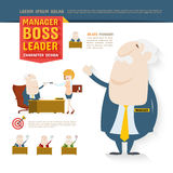 Chef framstickande, ledare, teckendesign Arkivbilder