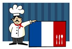 Chef of french cuisine. Food, restaurant, menu design with cutlery silhouette on the country flag. Striped blue background. Vector available Royalty Free Stock Photos