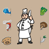 Chef and fresh food 1 Royalty Free Stock Photography