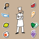 Chef and fresh food Royalty Free Stock Images