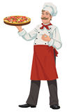 Chef with Fresh Pizza - Illustration. Illustration of happy chef with fresh baked gourmet pizza Stock Image