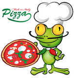 Chef frog cartoon with pizza Royalty Free Stock Image