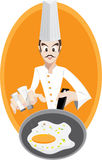 Chef is frying egg. Illustration of chef is cooking.EPS10 stock illustration