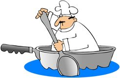 Chef In A Frying Pan Boat. This illustration depicts a chef paddling a frying pan boat with a large spoon Royalty Free Stock Image