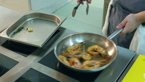 Chef frying royal shrimps on a pan and adding sunflower oil stock video footage