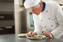 Chef garnishing a dish Royalty Free Stock Image