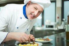 Chef garnishing a dish Royalty Free Stock Photos