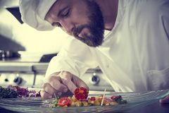 Chef garnishing flower in ceviche dish Stock Images