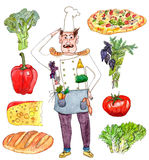 Chef general with food set watercolor illustration. Watercolor hand drawn set of chef and tomato, broccoli, basil, cheese, pepper, lettuce, loaf and pizza stock illustration