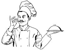 Chef Gesture Delicious et tenir un plateau de plateau de cloche Images libres de droits