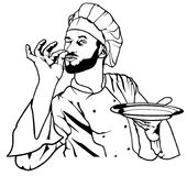 Chef Gesture Delicious and Holding a Plate Royalty Free Stock Photos
