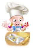 Chef Girl Baking de bande dessinée Images libres de droits