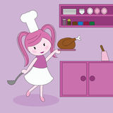 chef girl with a chicken dish Royalty Free Stock Photography