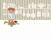 Chef girl cooking. Delicious meal in restaurant kitchen. Gourmet food Vector Illustration