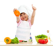Chef girl preparing healthy food Stock Image