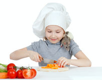 Chef girl preparing healthy food and feeding pet Stock Photography