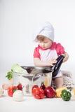 Chef girl preparing healthy food Stock Photo