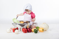 Chef girl preparing healthy food Stock Image