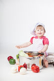 Chef girl preparing healthy food Stock Photos